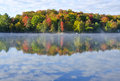 Reflections of Fall Colors on a Tranquil Lake  Royalty Free Stock Photos