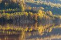 Reflections on a lake with autumnal forest Royalty Free Stock Photo