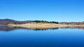Reflections in lake jindabyne still water and landscape view on a popular travel vacation and trout fishing destination of Stock Images