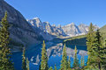 Reflections in moraine lake banff national park alberta canada Royalty Free Stock Photo