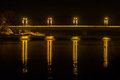 Reflections at night from Prienai bridge Royalty Free Stock Photo
