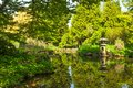 Old Japanese garden with reflection in the pond Royalty Free Stock Photo