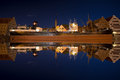 Reflections of the ship Soldek at night in the river Motlawa in Royalty Free Stock Photo