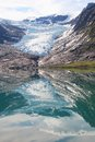 Reflections of svartisen glacier the lowest europe Stock Images