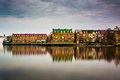 Reflections of waterfront buildings along the Potomac River in A Royalty Free Stock Photo