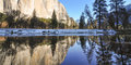 Reflections at yosemite in a river in national park Royalty Free Stock Photo