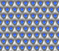 Reflective blue spheres on an array of white cubes (seamless) Royalty Free Stock Photo