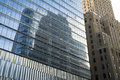Reflective glass skyscrapers manhattan new york city in Stock Photo