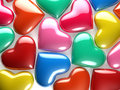 Reflective hearts a group of of various colors Royalty Free Stock Images