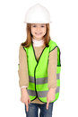 Reflective vest little girl with Stock Photo