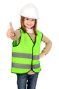 Reflective vest little girl with Royalty Free Stock Image