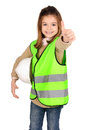 Reflective vest little girl with Royalty Free Stock Photo