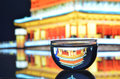 Reflex of a tower glass water with the chinese in xi an Royalty Free Stock Photos