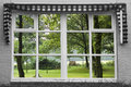 Reflexion garden window Royalty Free Stock Images