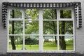 Reflexion garden window Royalty Free Stock Images