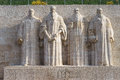 Reformation wall in geneva statues on switzerland from left to right william farel john calvin theodore de beze and john knox Stock Images