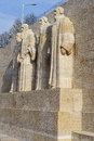 Reformation wall in geneva statues on switzerland from left to right william farel john calvin theodore de beze and john knox Stock Photo