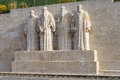 Reformation wall in geneva statues on switzerland from left to right william farel john calvin theodore de beze and john knox Stock Photos