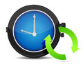 Refresh icon on a blue watch Royalty Free Stock Image