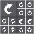Refresh icons set of flat simple web repeat reload redo arrows illustration Stock Photos