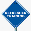Refresher training banner on white background blue road sign pointing to business or job Royalty Free Stock Photos