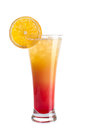 A refreshing alcoholic cocktail is decorated from an orange. Red cocktail on a white background