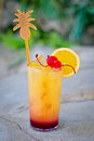Refreshing alcoholic tropical cocktail Tequila sunrise Royalty Free Stock Photo