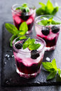 refreshing cocktail with backberry, ice and mint, Royalty Free Stock Photo