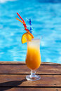 Refreshing coctail near swimming pool on vacation cool Stock Image
