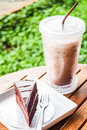 Refreshing with cold coffee and chocolate cake break Stock Images