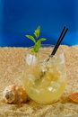 Refreshing drink on the beach served with blue in background and shells around it Royalty Free Stock Photography