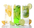 Refreshing drinks various on white background Stock Photo