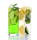 Refreshing drinks various on white background Stock Photography