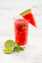 Refreshing fruit cocktail of watermelon Royalty Free Stock Photos