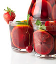Refreshing fruit sangria. Closeup Royalty Free Stock Photos
