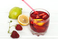 Refreshing fruit sangria. summer drink Royalty Free Stock Photo