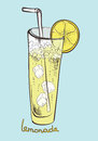 Refreshing glass of lemonade with ice Stock Images
