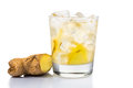 Refreshing ice cold ginger tea in transparent glass Royalty Free Stock Photo