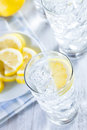 Refreshing ice cold water with lemon ready to drink Stock Image