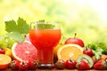 Refreshing Juice with fruits Stock Images