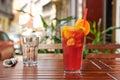 Refreshing lemonade on wooden table closeup Royalty Free Stock Image