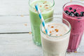 Refreshing milkshakes or smoothies Royalty Free Stock Photo