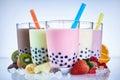 Refreshing milky bubble tea with tapioca pearls Royalty Free Stock Photo