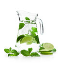 Refreshing mojito pitcher with a with fresh mint and lime on a white background Stock Photos
