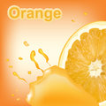 Refreshing orange background with drops of juice and piece of orange.