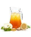 Refreshing punch pitcher with a fruit drink decorated with fresh ginger and apple on a white background Stock Photography