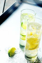 Refreshing pure water with tangy citrus slices ice cold flavoured served in tall glasses to quench a summer thirst Stock Photos
