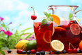 Refreshing sangria punch with fruits Stock Photography