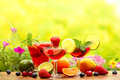 Refreshing sangria punch with fruits Stock Images