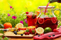 Refreshing sangria punch with fruits Royalty Free Stock Images